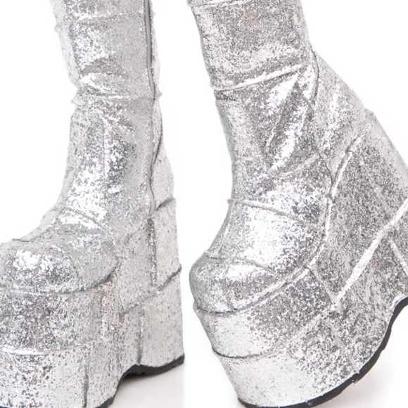 "f90082985be Demonia Shoes - Demonia stack silver glitter boots. 4"" platform"